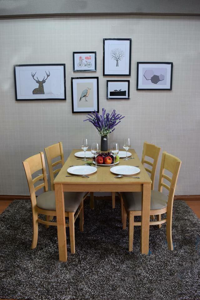 bàn ăn cabin 4 chỗ màu vàng giá rẻ