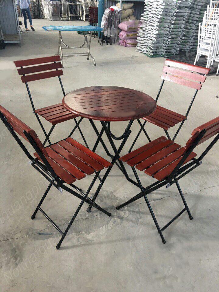 bàn ghế cafe gỗ khung sắt giá rẻ