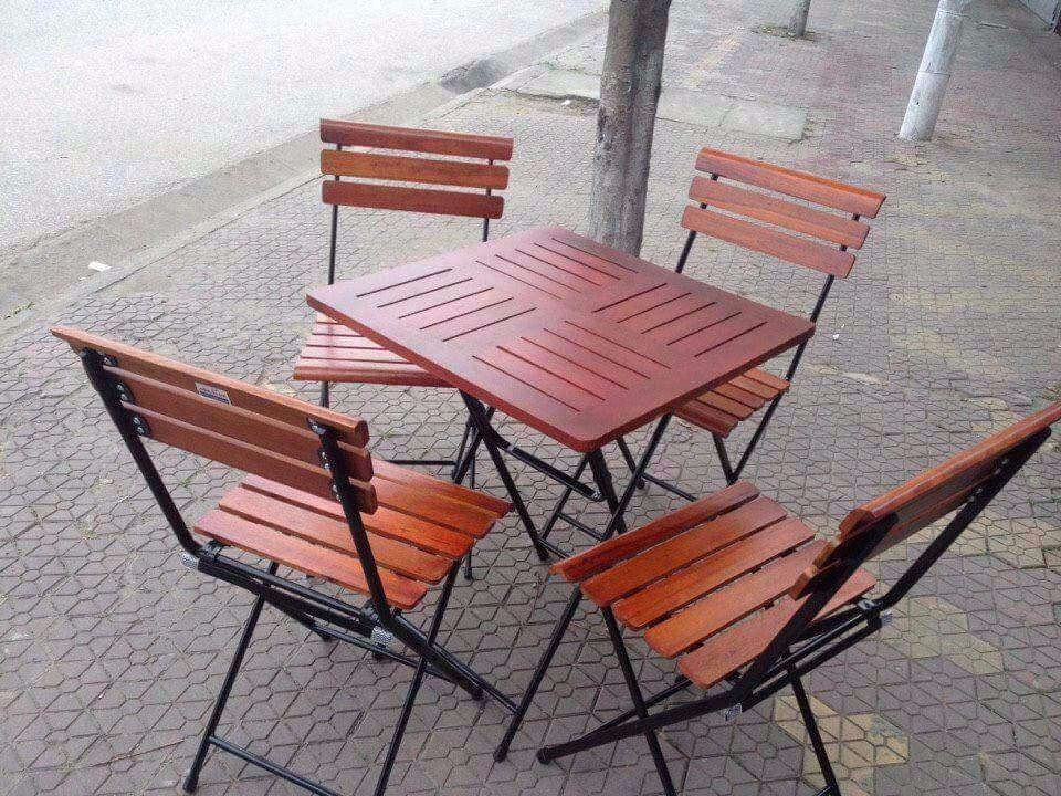bàn ghế cafe vuông gỗ tự nhiên giá rẻ