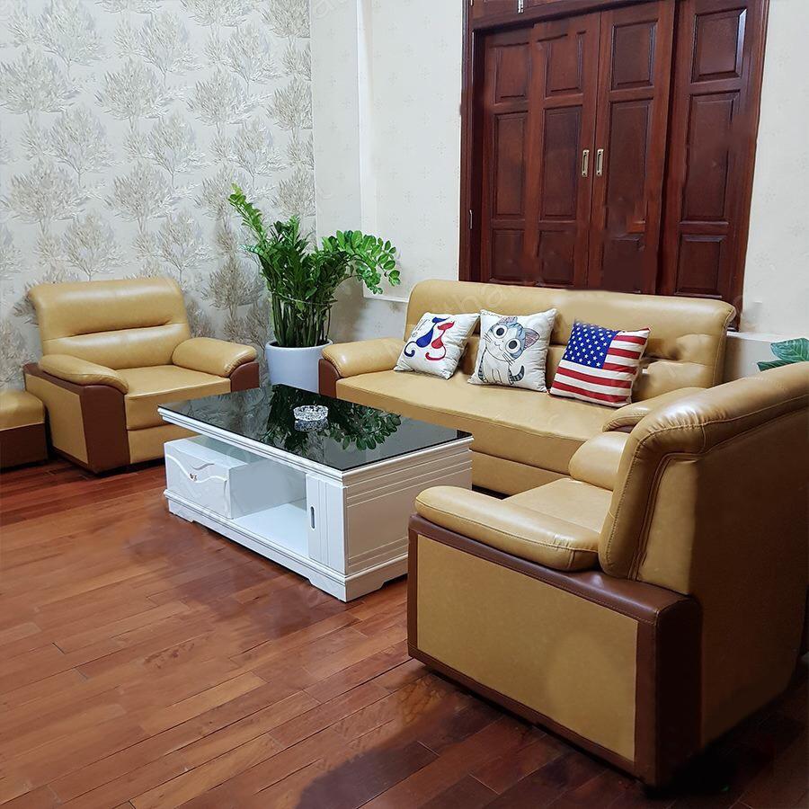 sofa da kiểu Nhật màu kem thanh lý