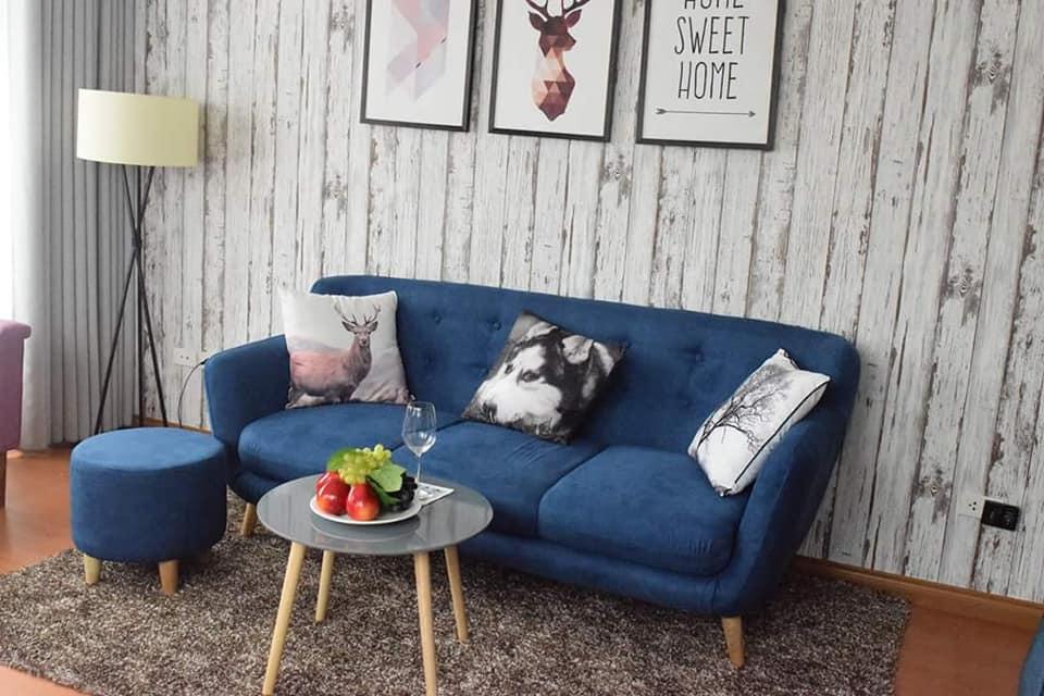 sofa văng nỉ xanh một lớp đệm thanh lý