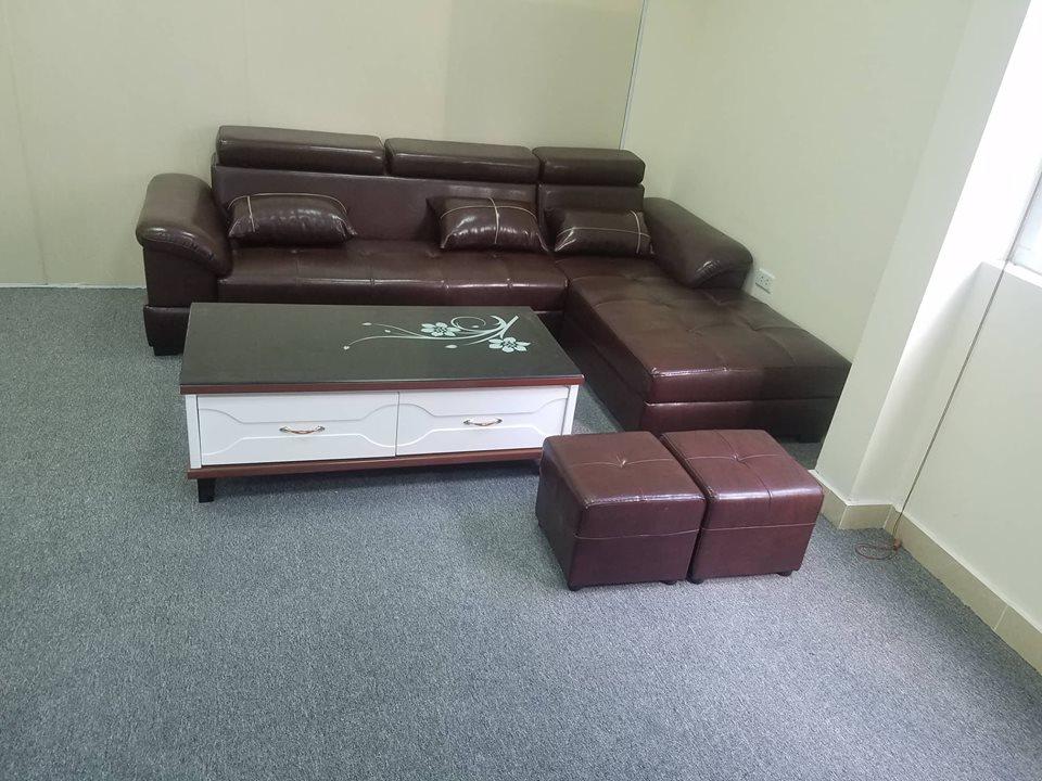 sofa da màu nâu cao cấp thanh lý