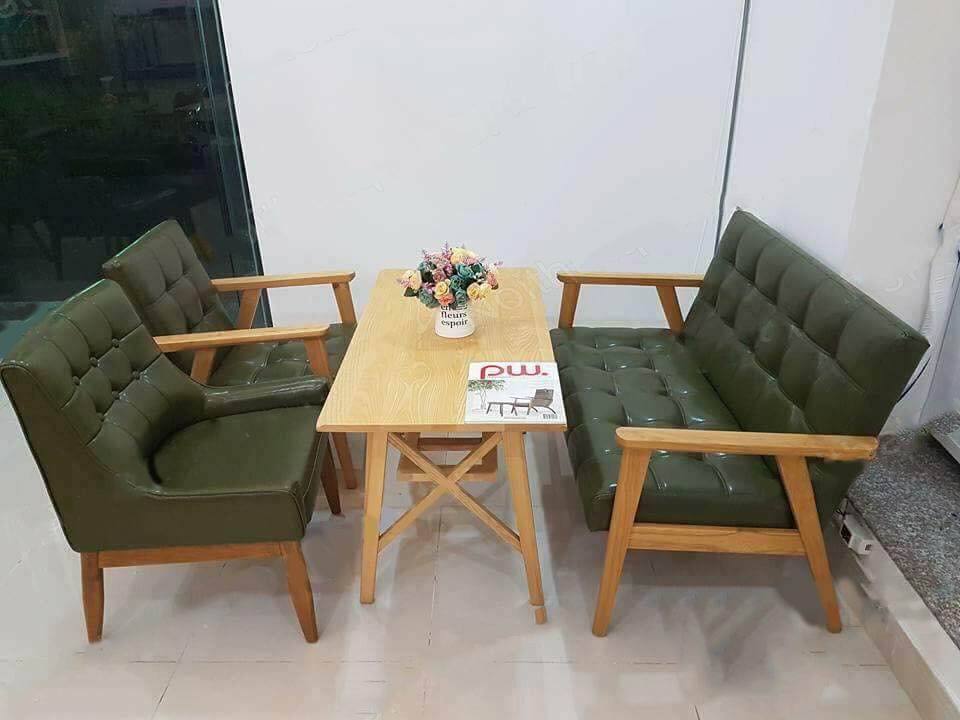 ghế sofa gỗ da màu xanh giá rẻ