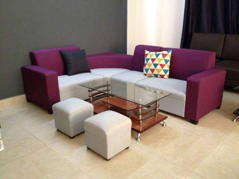 sofa nỉ góc tím pha xám giá rẻ