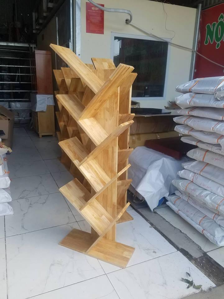 kệ sách rễ cây gỗ cao su giá rẻ
