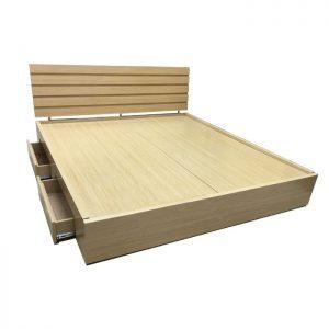 Giường hộp MDF Melamine Rát phán sử dụng gỗ công nghiệp melamine cao cấp chống xước được thiết kế theo kiểu giường bệt, hiện đại với bộ khung chắc chắn, rát phản tiện lợi, sử dụng được trong cả mùa đông lẫn mùa hè. Giường hộp MDF Melamine Rát phán được thiết kế thêm hai ngăn kéo nhỏ bên dưới tiết kiệm được không gian, giúp bạn hoàn toàn thoải mái trong quá trình sử dụng sản phẩm.