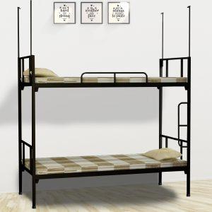 Giường sắt 2 tầng homestaty sinh viên màu đen với đa dạng kích thước sẽ làm cho không gian phòng ngủ của bạn sẽ sang trọng và tiện nghi hơn. Bạn có thể thoải mái ngả lưng trên chiếc giường sang trọng mang lại cho bạn giấc ngủ sâu và thoải mái. Chiếc giường rất phù hợp với không gian ký túc xá và khu công nghiệp.