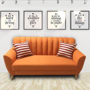 Ghế sofa văng nỉ hiện đại màu cam là dòng sofa mang phong cách Scandivian hiện đại, được làm từ chất liệu nỉ cao cấp kết hợp khung gỗ tự nhiên đã qua tẩm sấy chống được mối mọt. Màu sắc bắt mắt, phong cách mang hơi hướng hiện đại phù hợp với căn hộ chung cư cao cấp.