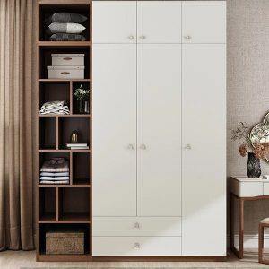 Tủ quần áo hiện đại, giá cả phù hơp với không gian phòng ngủ. Kết hợp không gian phòng mở cùng ánh sáng tốt tạo nên sự sang trọng và hiện đại.