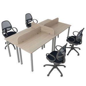 Bàn làm việc vách ngăn 4 chỗ, bàn module Cụm bàn làm việc làm một trong những sản phẩm được sử dụng nhiều trong các văn phòng giúp tạo sự chuyên nghiệp